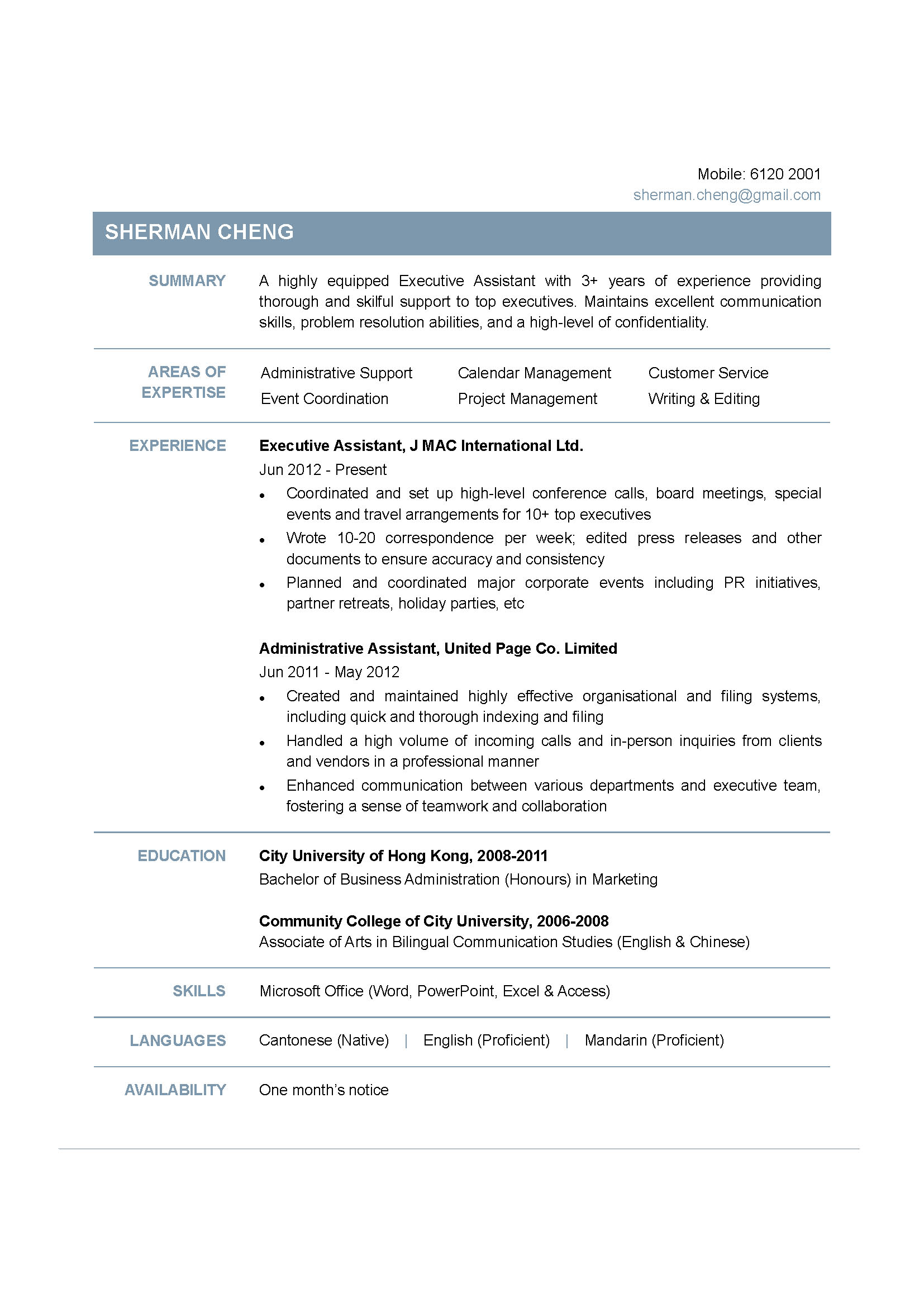 Executive Assistant CV