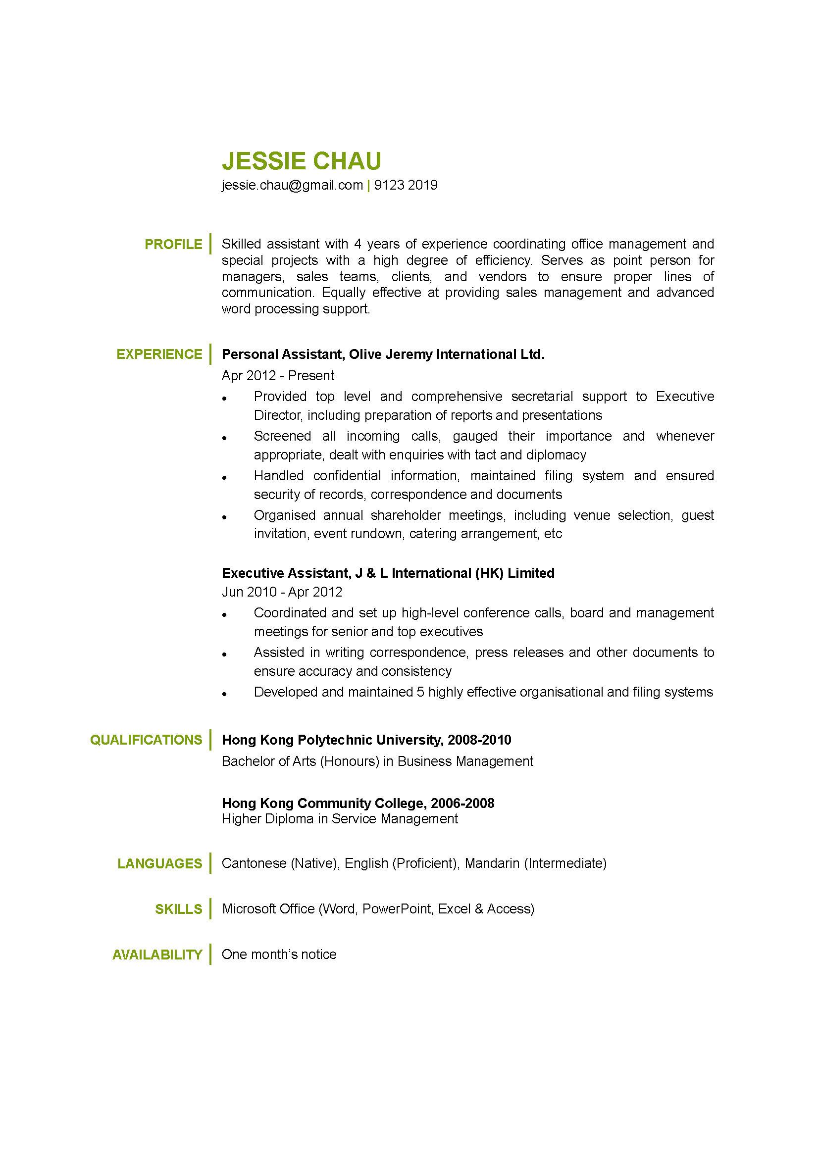 Personal Assistant CV