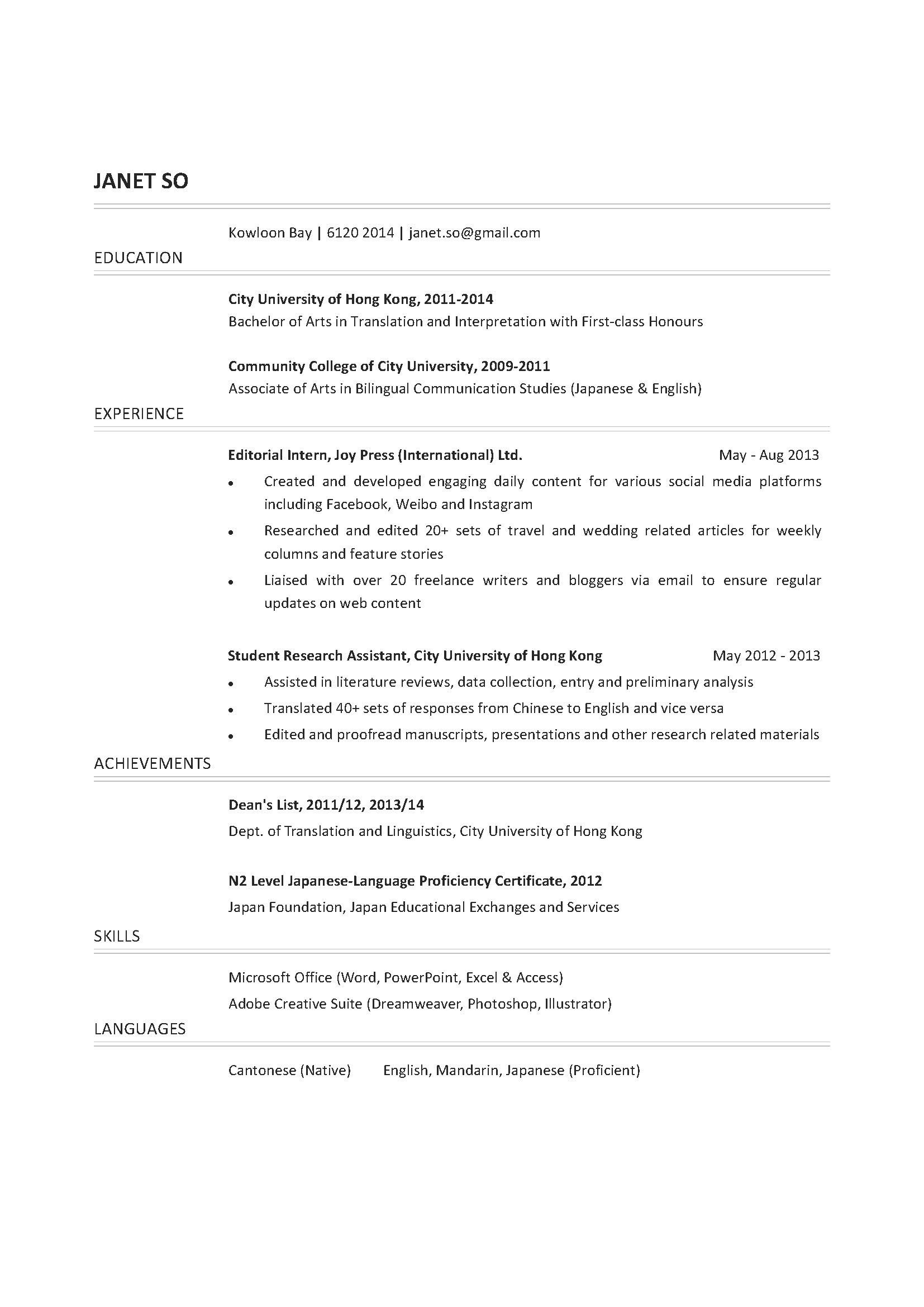 Translation Graduate CV