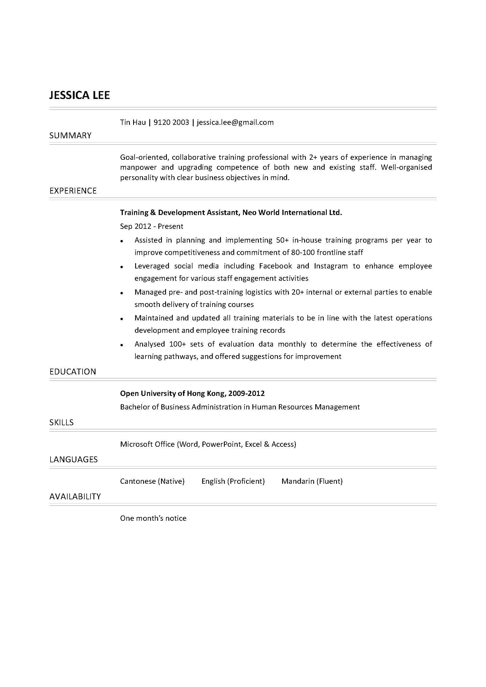 Training & Development Assistant CV