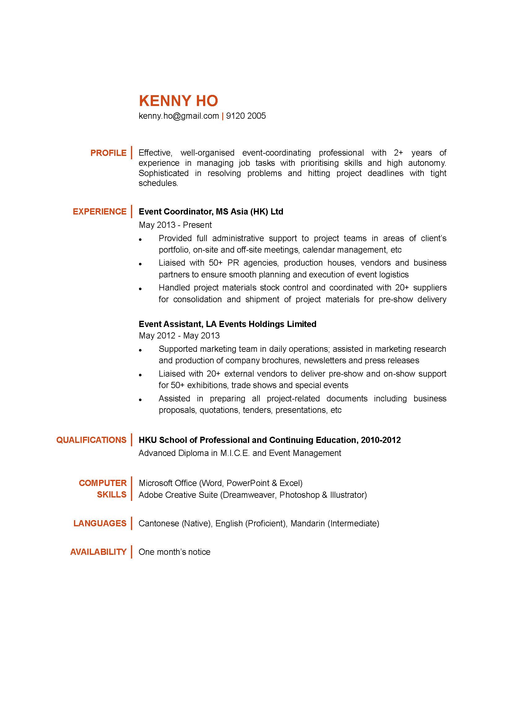 Event Coordinator CV   CTgoodjobs powered by Career Times