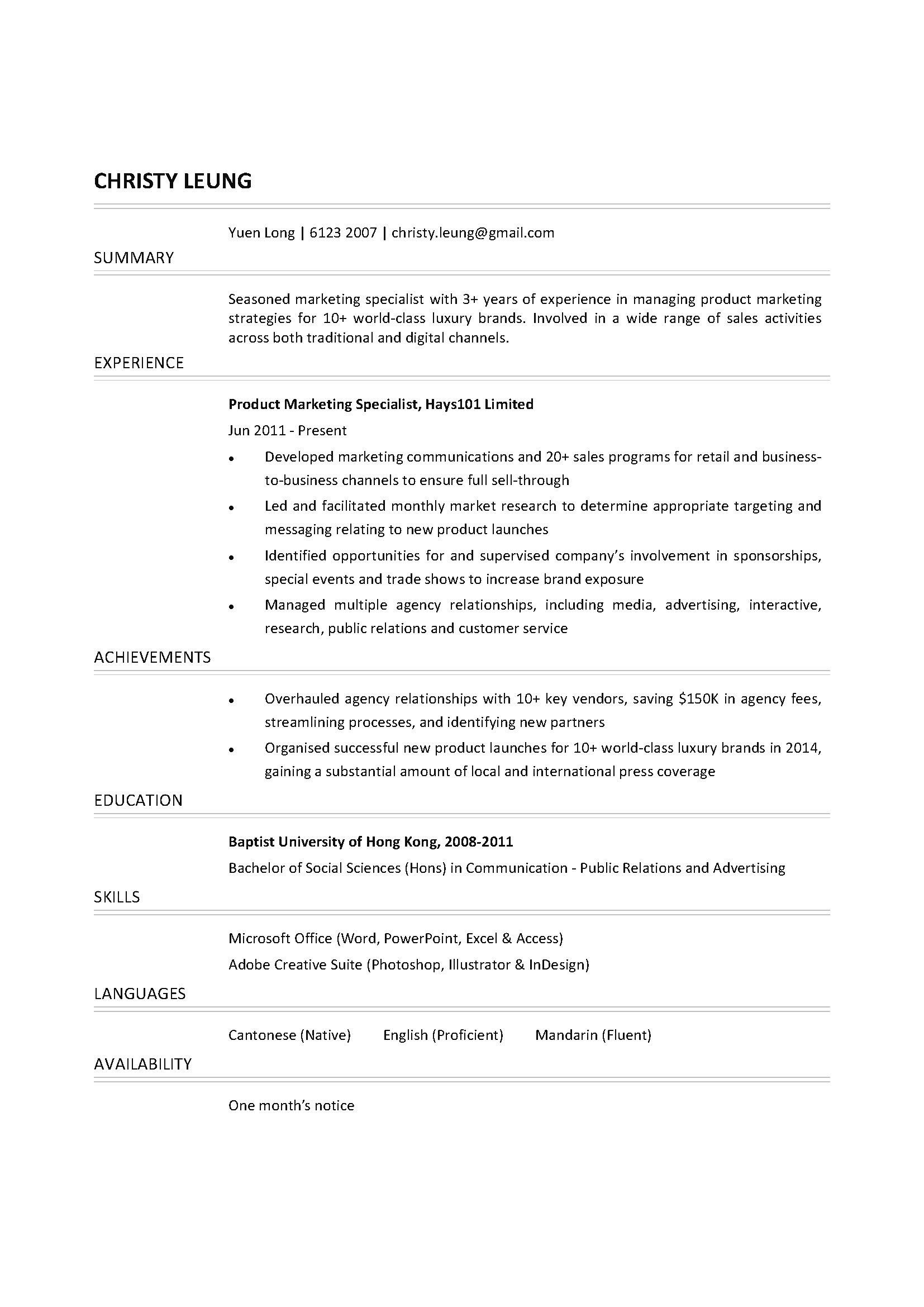 Product Marketing Specialist CV