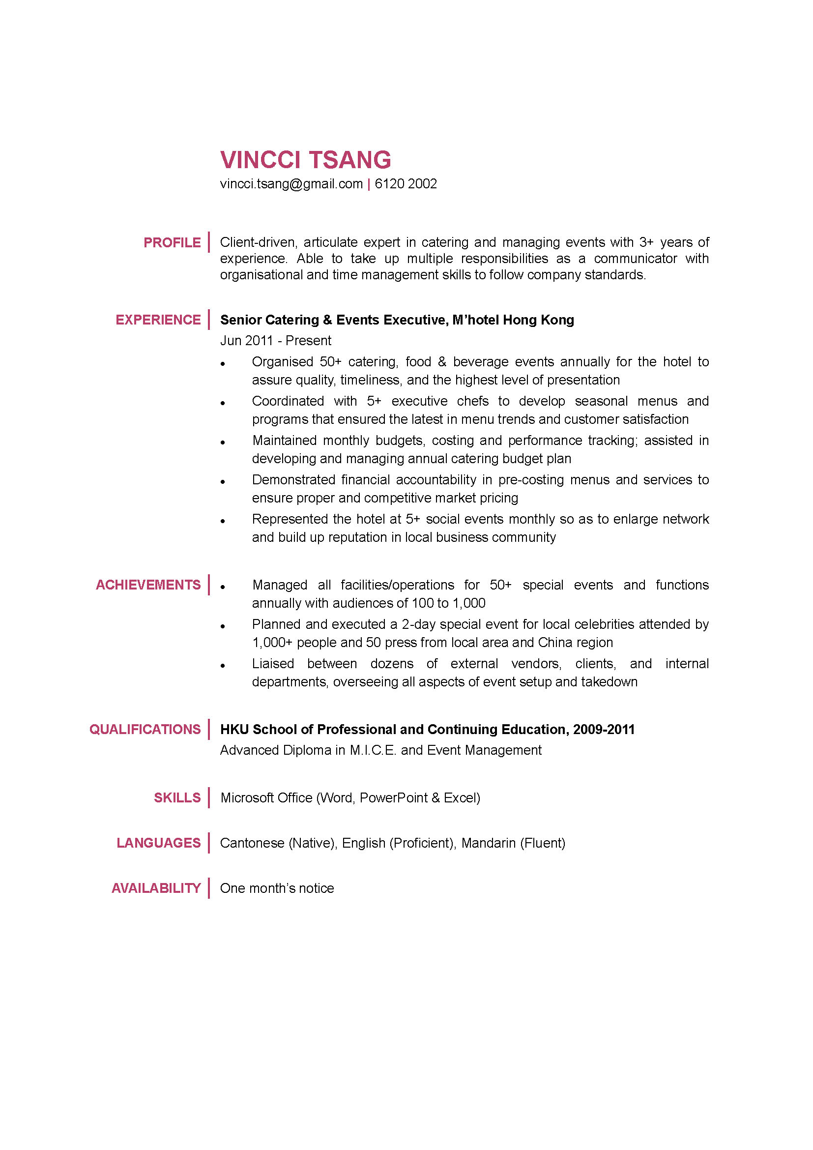 Catering & Events Executive CV