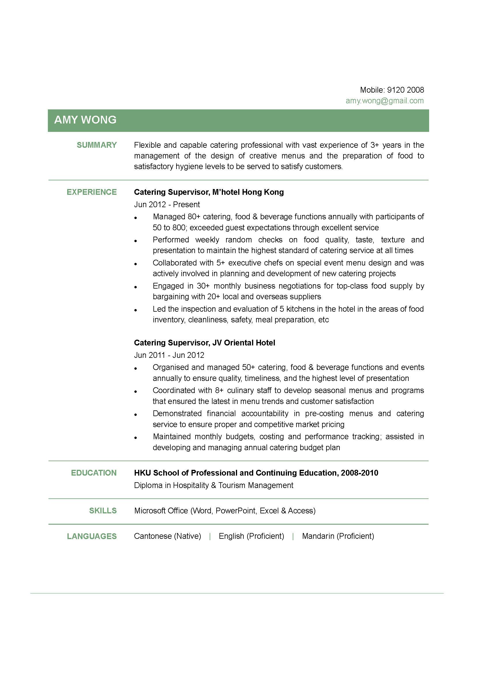 Catering Supervisor CV