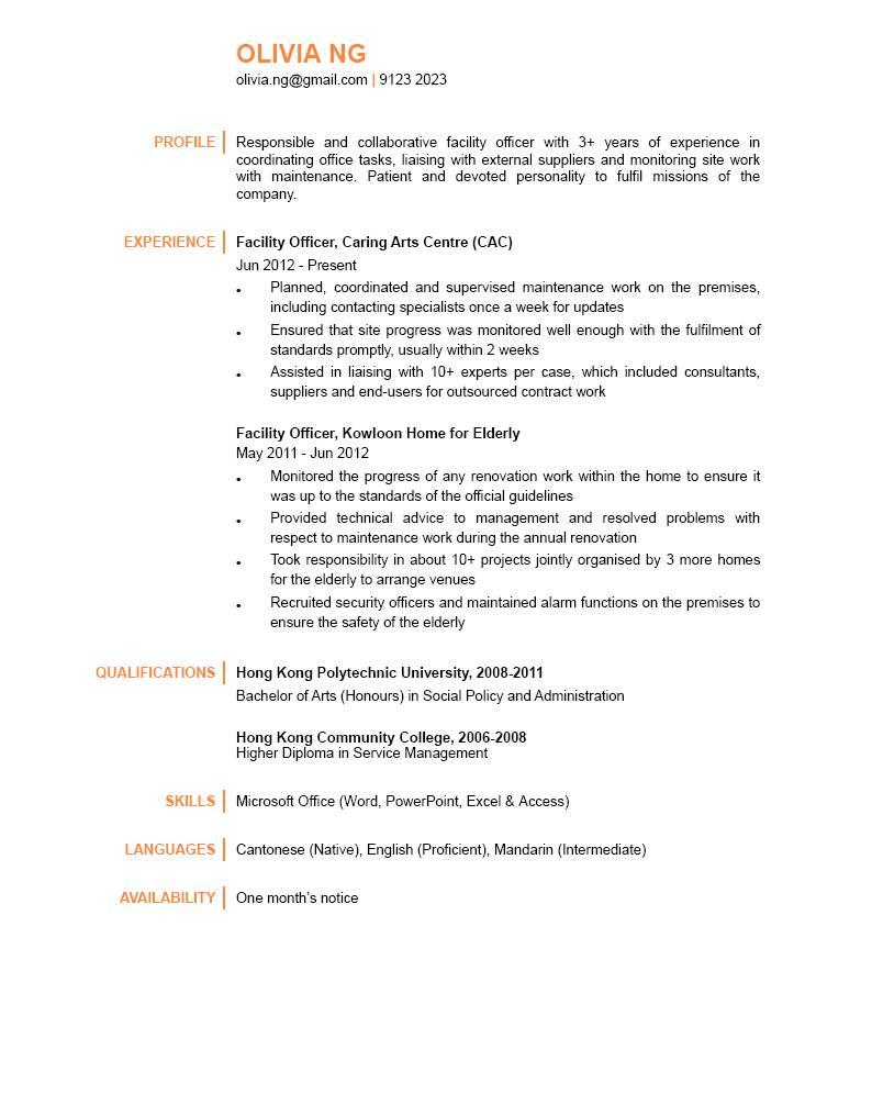 Facility Officer CV