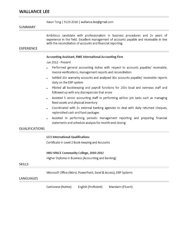 Accounting Assistant CV