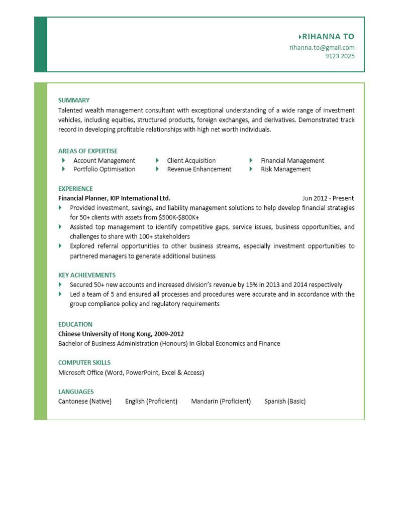 Financial Planner CV