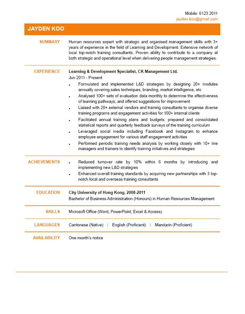 Learning & Development Specialist CV