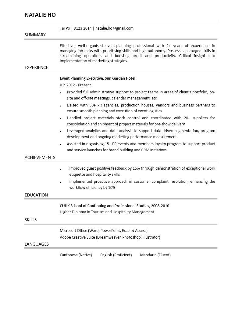 Event Planning Executive CV