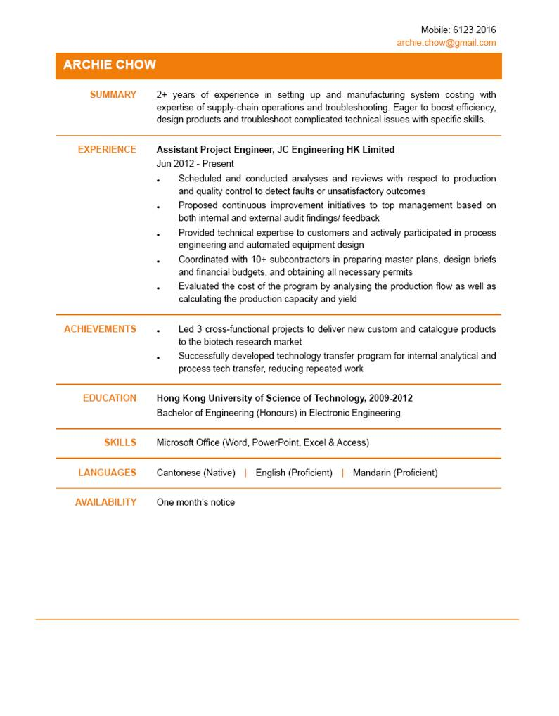 Assistant Project Engineer CV