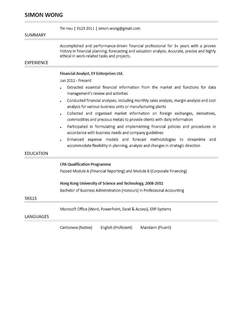 Financial Analyst CV