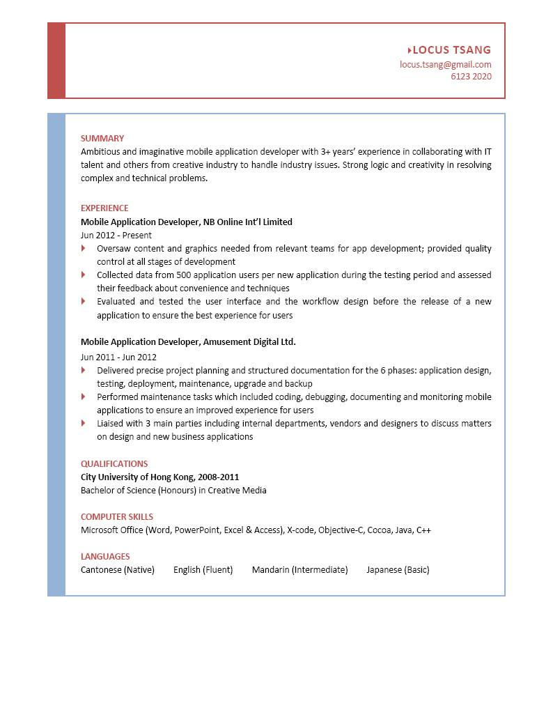 Mobile Application Developer CV