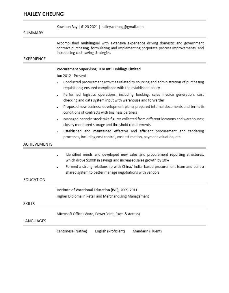 Procurement Supervisor CV