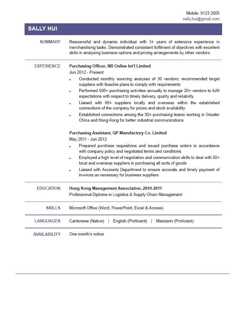 Purchasing Officer CV