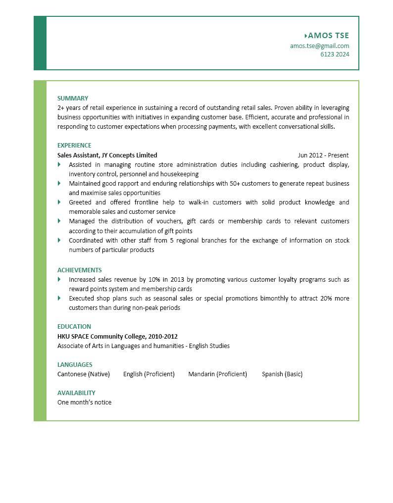 Sales Assistant CV