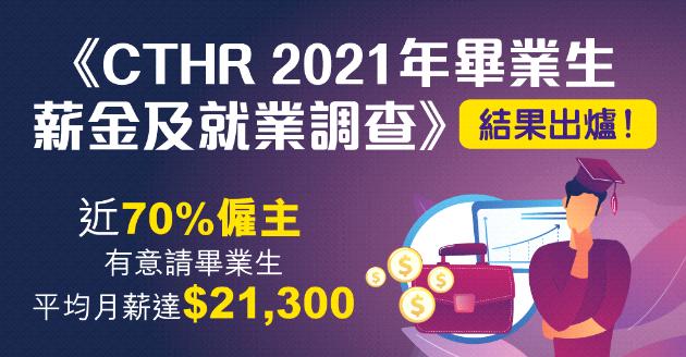 《CTHR 2021年畢業生薪金及就業調查》結果出爐! 近70%僱主有意請畢業生 平均月薪達$21,300